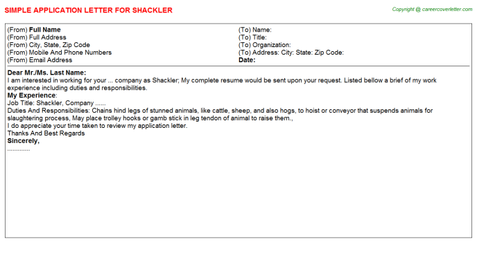 Shackler Application Letter Template
