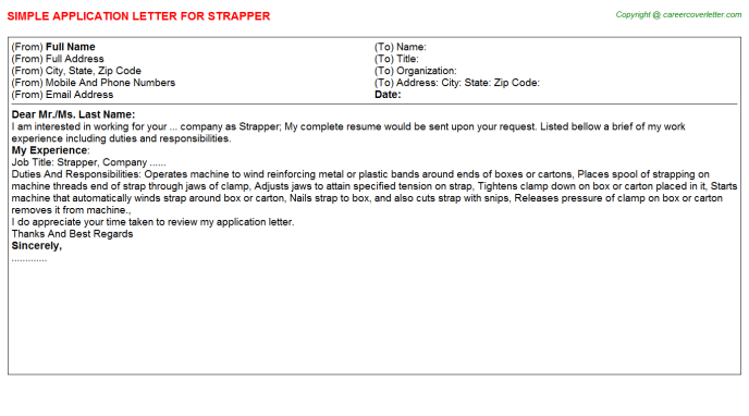 Strapper Job Application Letter Template