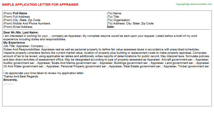 Appraiser Job Application Letter Template