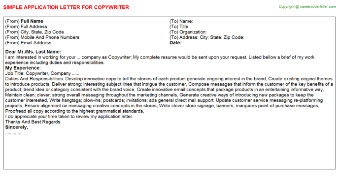 Copywriter Job Application Letter Template