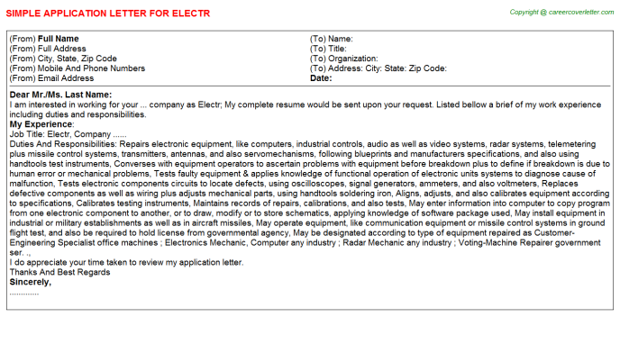 Electr Application Letter Template