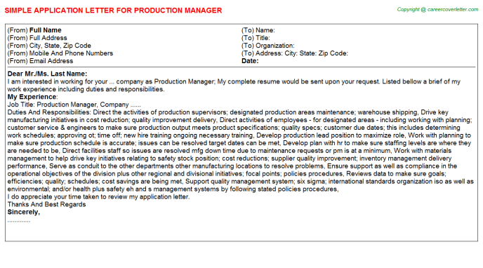 Production Manager Application Letter Template