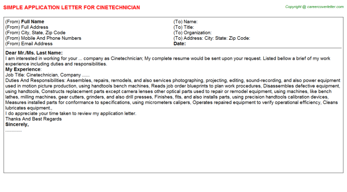 Cinetechnician Application Letter Template