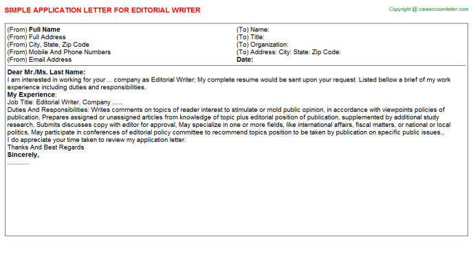 editorial writer application letter template