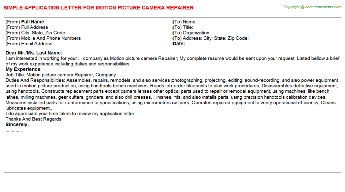 Motion picture camera Repairer Application Letter Template