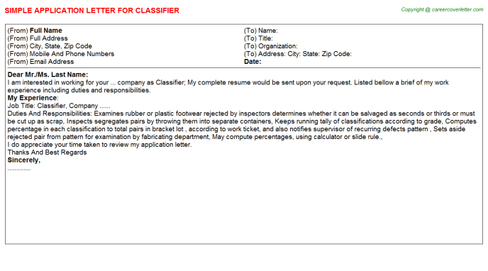 Classifier Job Application Letter Template