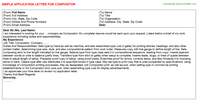 Compositor Job Application Letter Template