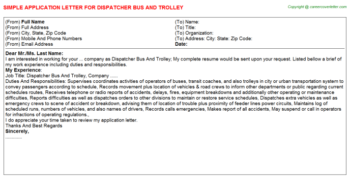 Dispatcher Bus And Trolley Application Letter Template