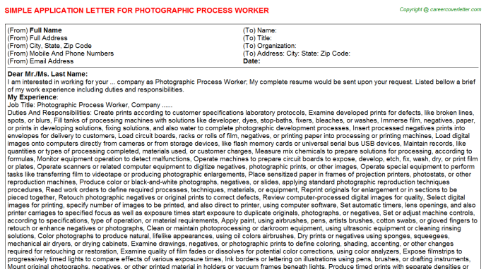 Photographic Process Worker Job Application Letter Template
