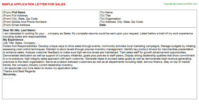 Sales Application Letter Template