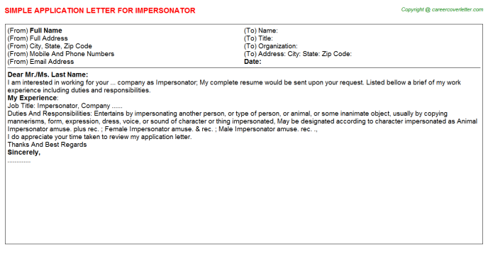 Impersonator Application Letter Template