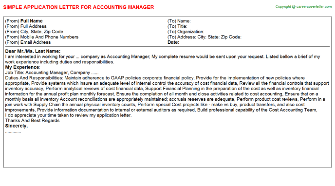 Accounting Manager Application Letter Template