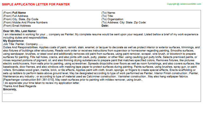 Painter Job Application Letter Template