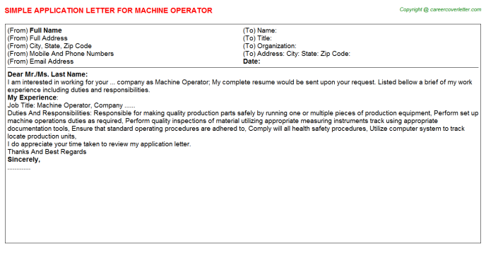 Machine Operator Application Letter Template