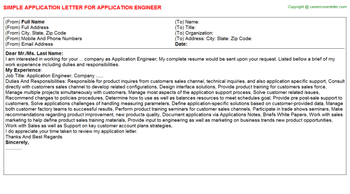 Application Engineer Application Letter Template