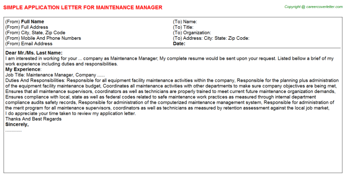 Maintenance Manager Application Letter Template