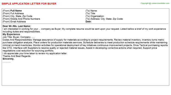 Buyer Job Application Letter Template