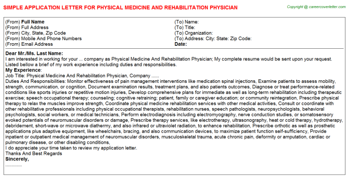 Physical Medicine And Rehabilitation Physician Job Application Letter Template