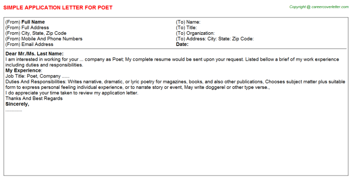 Poet Job Application Letter Template