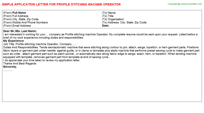 profile stitching machine operator application letter template