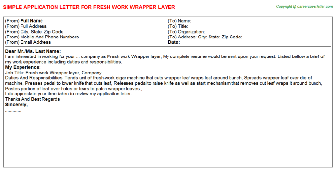Fresh work Wrapper layer Application Letter Template