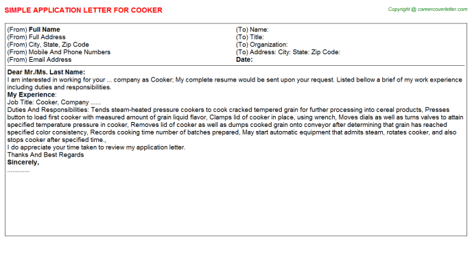 Cooker Application Letter Template