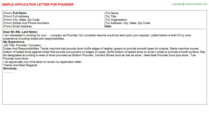 Pounder Job Application Letter Template
