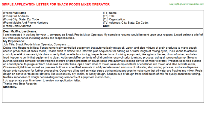 snack foods mixer operator application letter template