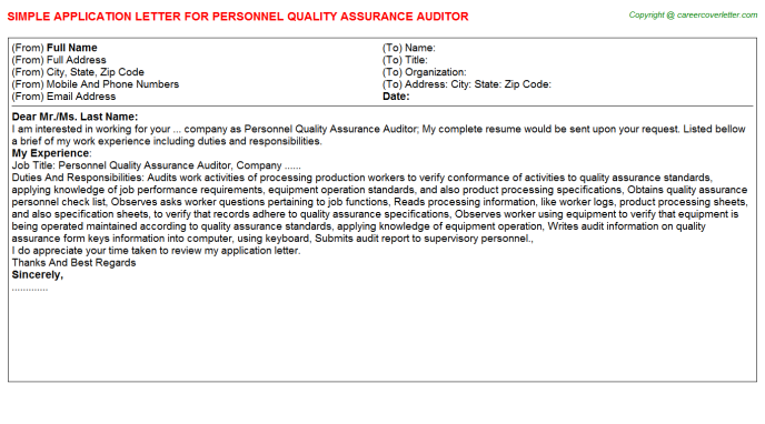 personnel quality assurance auditor application letter template