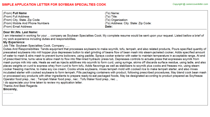 Soybean Specialties Cook Application Letter Template