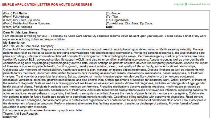 Acute Care Nurse Job Application Letters