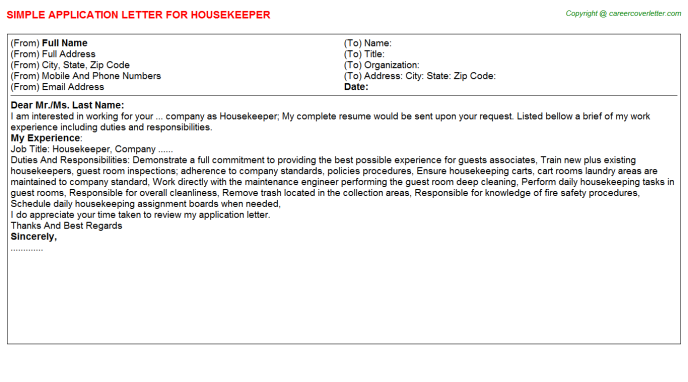 Housekeeper Job Application Letter Template