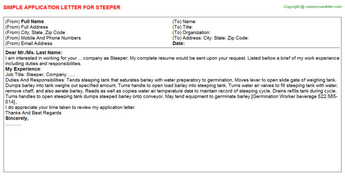 Steeper Application Letter Template