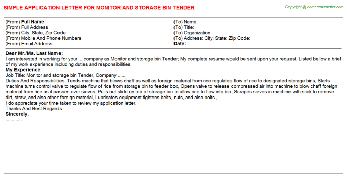monitor and storage bin tender application letter template