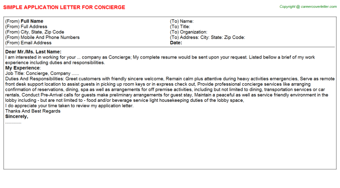 Concierge Application Letter Template