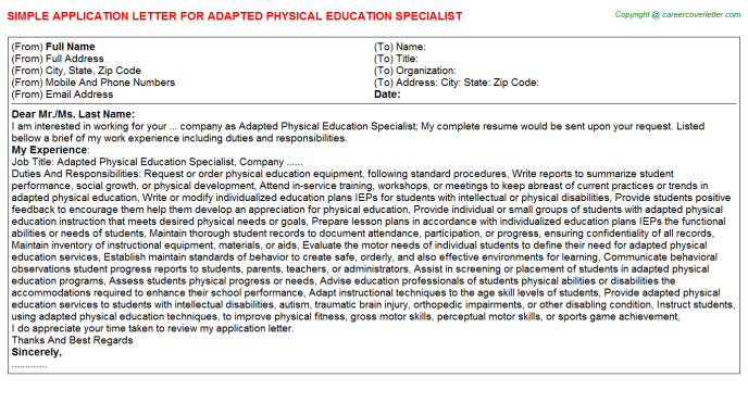 Adapted Physical Education Specialist Job Application Letter