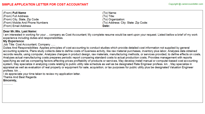 Cost Accountant Application Letter Template