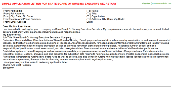 state board of nursing executive secretary application letter template