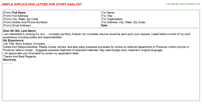 story analyst application letter template