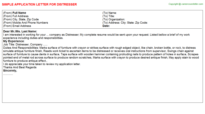 Distresser Application Letter Template