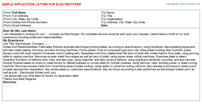 Electrotyper Job Application Letter Template