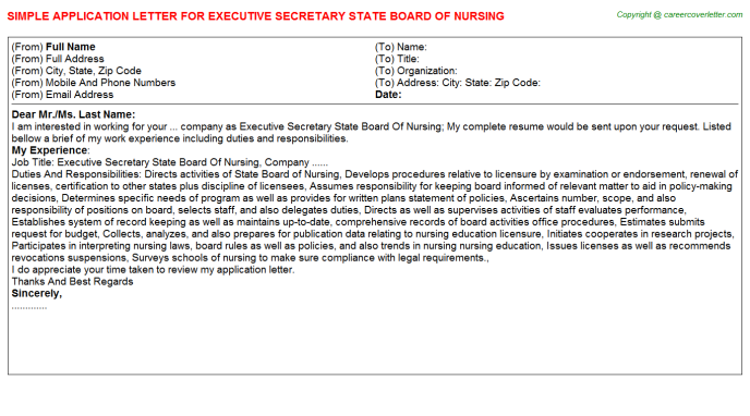 executive secretary state board of nursing application letter template