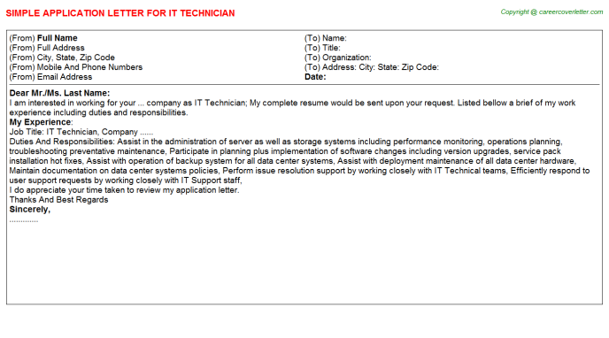 IT Technician Application Letter Template