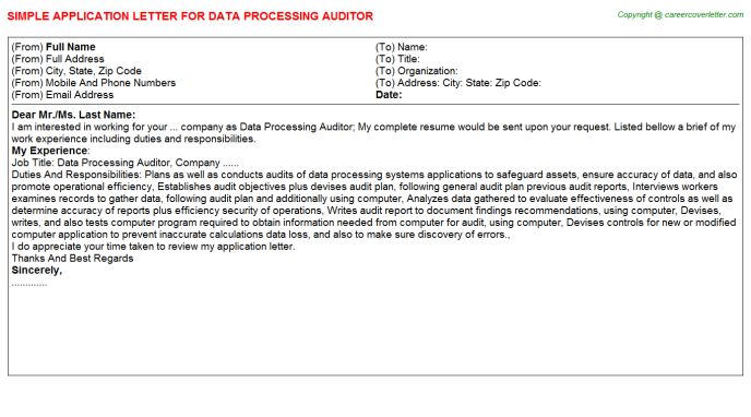 data processing auditor application letter template