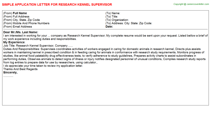 Research Kennel Supervisor Application Letter Template