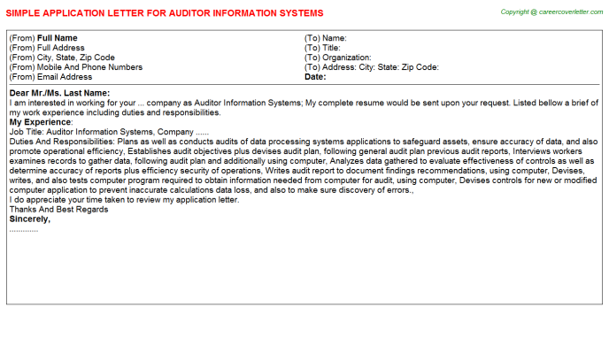 auditor information systems application letter template