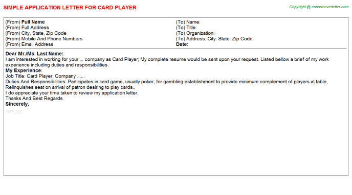 card player application letter template
