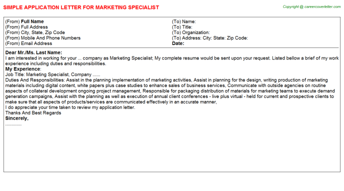 Marketing Specialist Application Letter Template