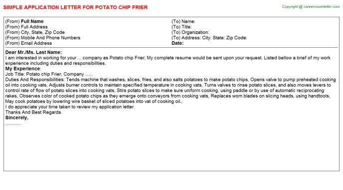 Potato Chip Frier Job Application Letter Template