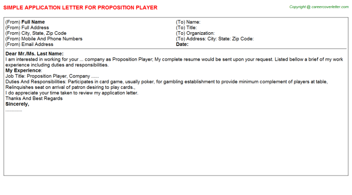 Proposition Player Job Application Letter Template